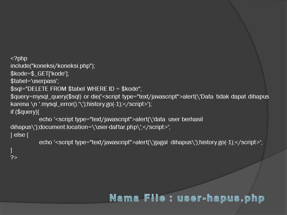 alert(\'Data tidak dapat dihapus karena \n '.mysql_error().'\');history.go(-1); '); if ($query){ echo ' alert(\'data user berhasil dihapus\');document