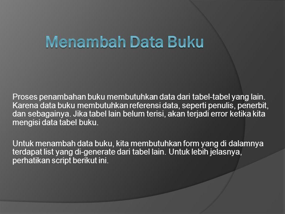 Proses penambahan buku membutuhkan data dari tabel-tabel yang lain. Karena data buku membutuhkan referensi data, seperti penulis, penerbit, dan sebaga