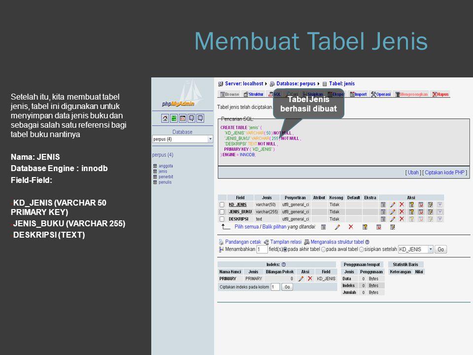 Step 1.e Database Setelah itu, kita membuat tabel jenis, tabel ini digunakan untuk menyimpan data jenis buku dan sebagai salah satu referensi bagi tab