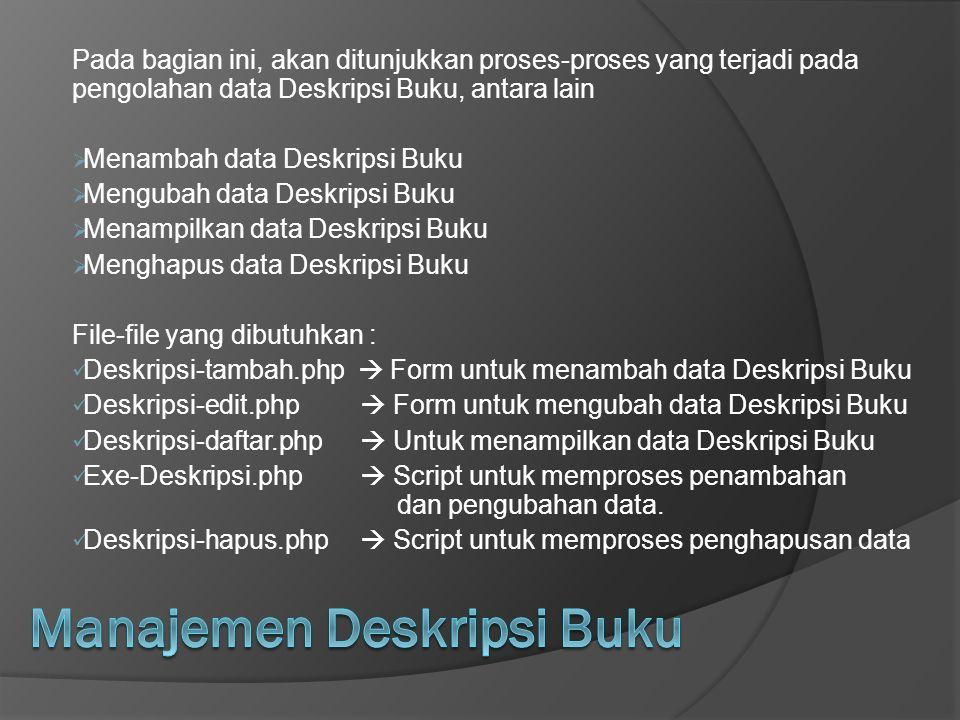 Pada bagian ini, akan ditunjukkan proses-proses yang terjadi pada pengolahan data Deskripsi Buku, antara lain  Menambah data Deskripsi Buku  Menguba