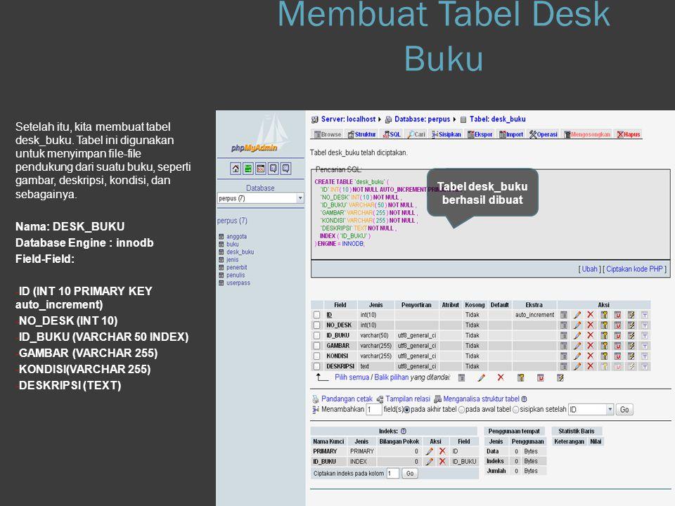 Step 1.h Database Setelah itu, kita membuat tabel desk_buku. Tabel ini digunakan untuk menyimpan file-file pendukung dari suatu buku, seperti gambar,