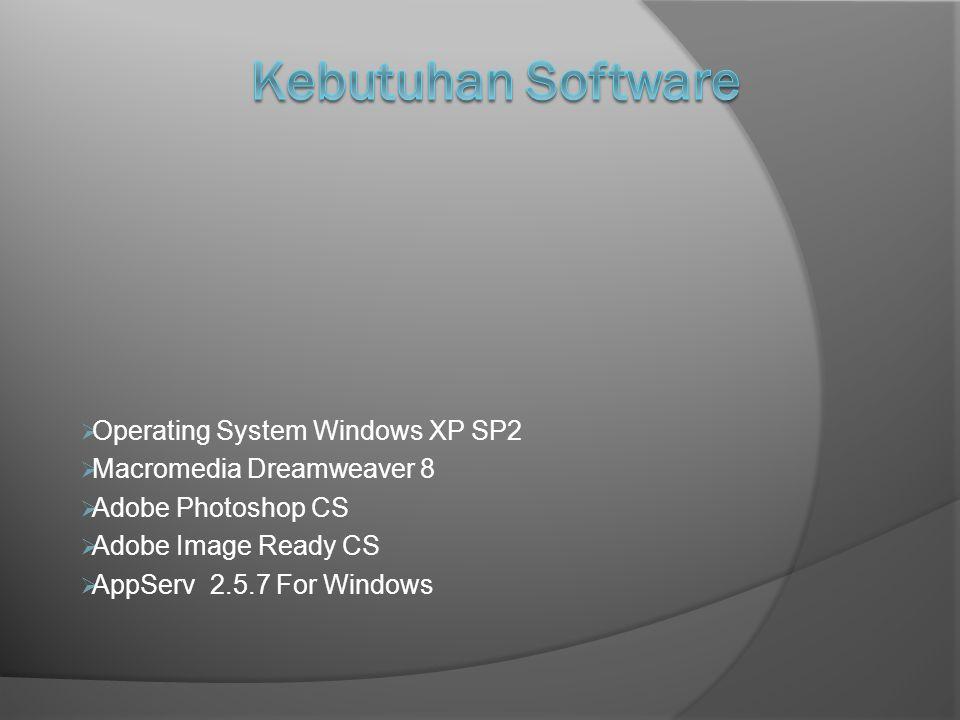  Operating System Windows XP SP2  Macromedia Dreamweaver 8  Adobe Photoshop CS  Adobe Image Ready CS  AppServ 2.5.7 For Windows