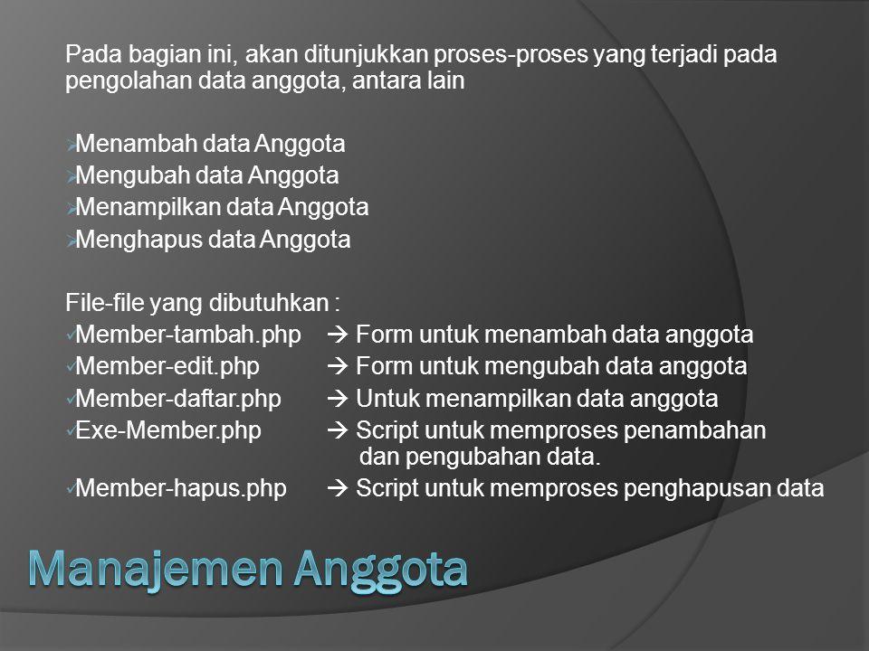 Pada bagian ini, akan ditunjukkan proses-proses yang terjadi pada pengolahan data anggota, antara lain  Menambah data Anggota  Mengubah data Anggota