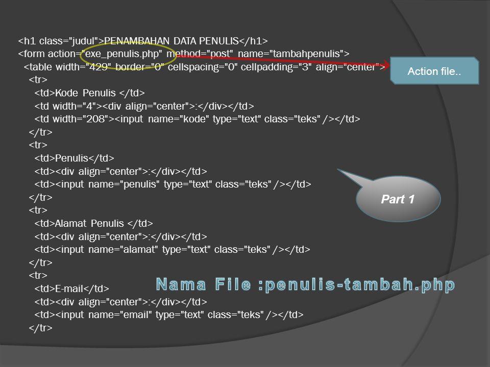 PENAMBAHAN DATA PENULIS Kode Penulis : Penulis : Alamat Penulis : E-mail : Part 1 Action file..