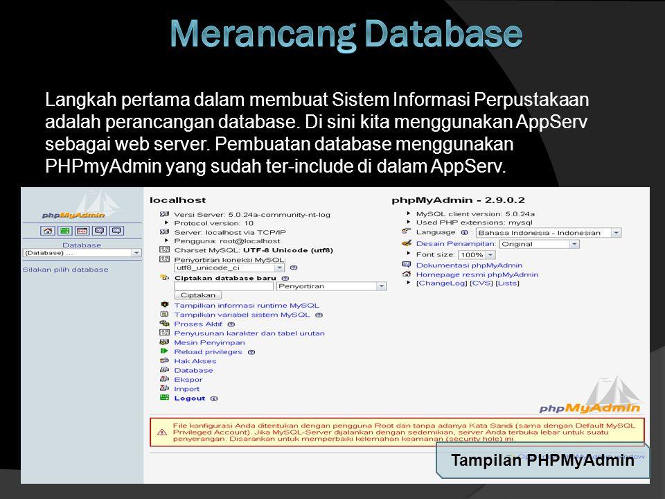 Host: Localhost (default) User: root (default) Password: root (default) Database Name : Perpus Tabel-Tabel yang dibutuhkan :  Anggota  Buku  Desk_buku  Jenis  Penerbit  Penulis  Userpass