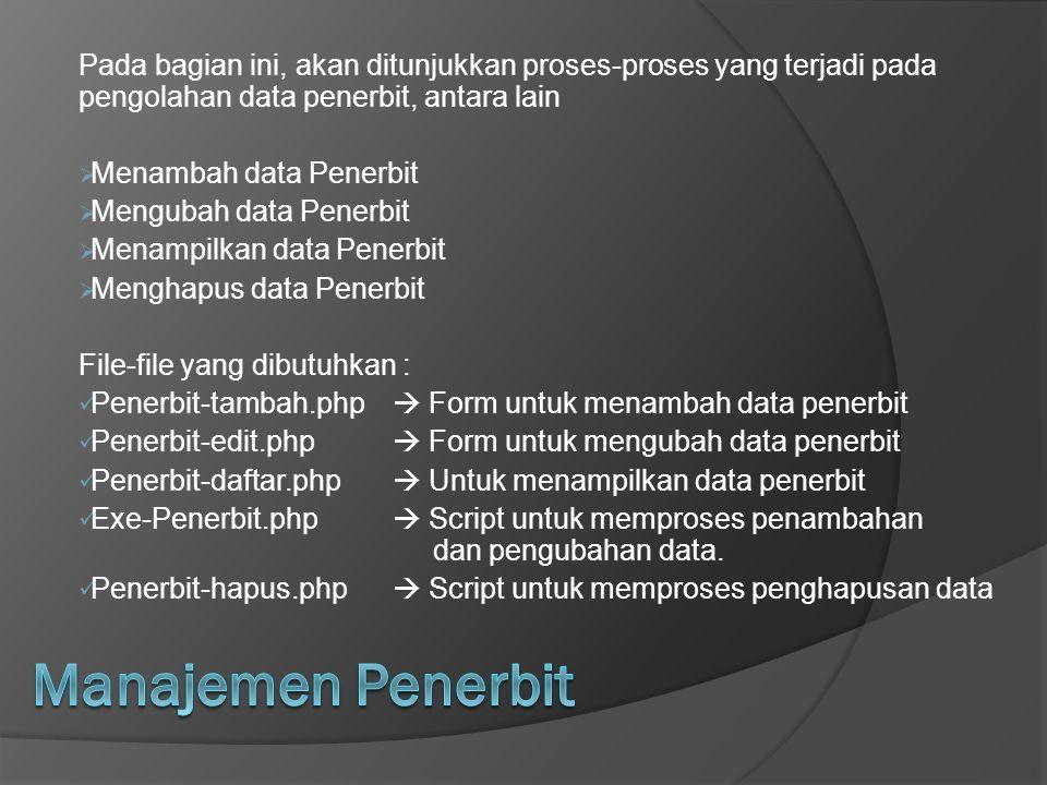 Pada bagian ini, akan ditunjukkan proses-proses yang terjadi pada pengolahan data penerbit, antara lain  Menambah data Penerbit  Mengubah data Pener
