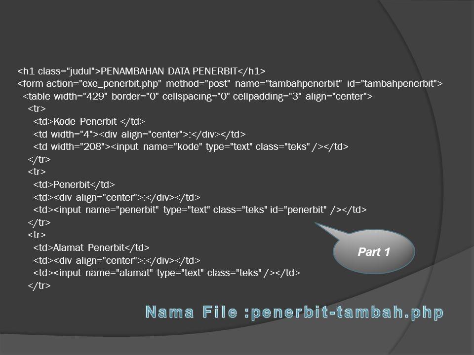 PENAMBAHAN DATA PENERBIT Kode Penerbit : Penerbit : Alamat Penerbit : Part 1