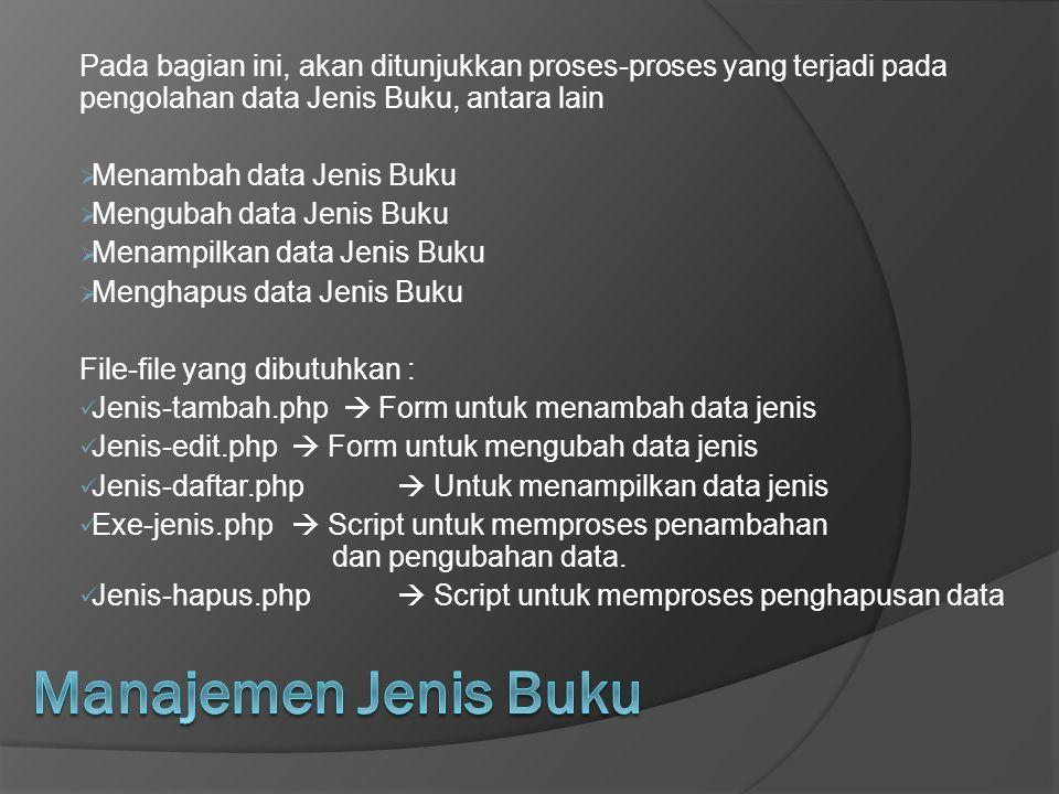 Pada bagian ini, akan ditunjukkan proses-proses yang terjadi pada pengolahan data Jenis Buku, antara lain  Menambah data Jenis Buku  Mengubah data J