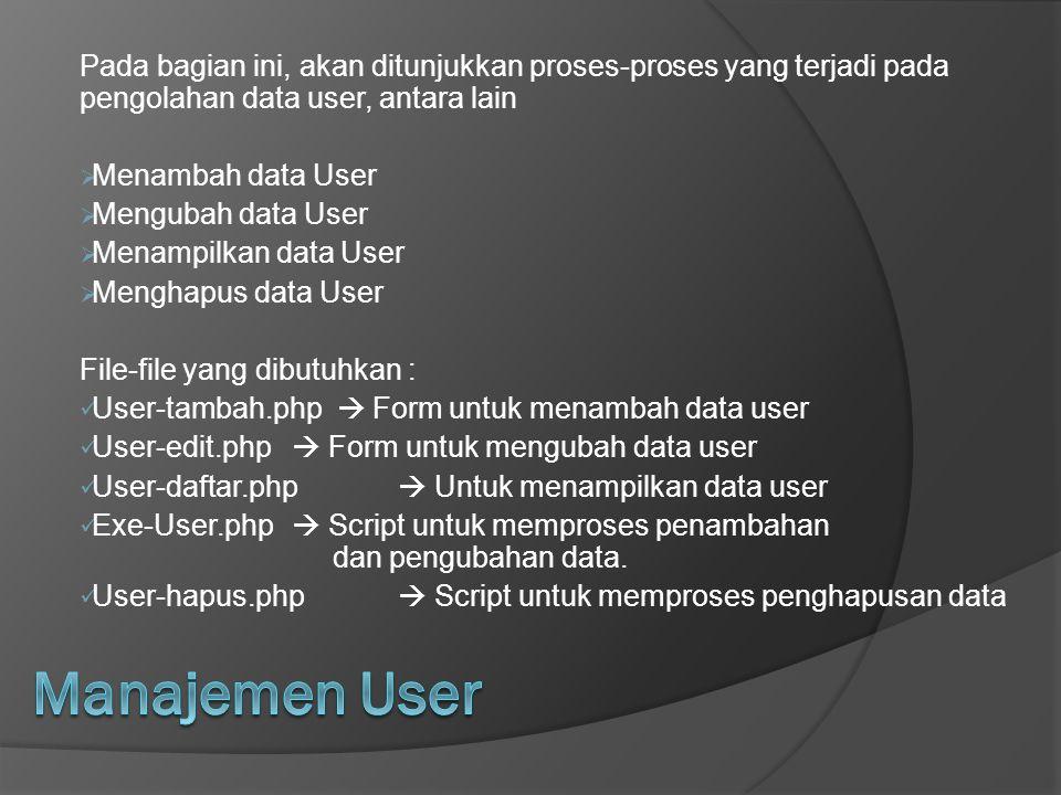 Pada bagian ini, akan ditunjukkan proses-proses yang terjadi pada pengolahan data user, antara lain  Menambah data User  Mengubah data User  Menamp