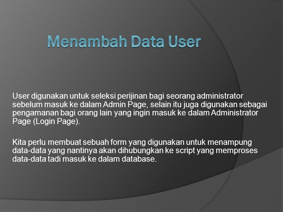 User digunakan untuk seleksi perijinan bagi seorang administrator sebelum masuk ke dalam Admin Page, selain itu juga digunakan sebagai pengamanan bagi