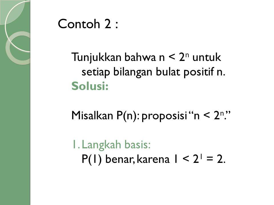 """Contoh 2 : Tunjukkan bahwa n < 2 n untuk setiap bilangan bulat positif n. Solusi: Misalkan P(n): proposisi """"n < 2 n."""" 1.Langkah basis: P(1) benar, kar"""