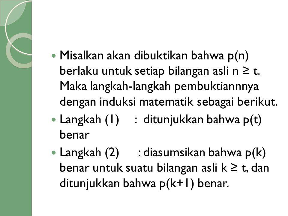  Misalkan akan dibuktikan bahwa p(n) berlaku untuk setiap bilangan asli n ≥ t. Maka langkah-langkah pembuktiannnya dengan induksi matematik sebagai b