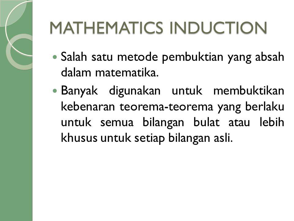 MATHEMATICS INDUCTION  Salah satu metode pembuktian yang absah dalam matematika.  Banyak digunakan untuk membuktikan kebenaran teorema-teorema yang