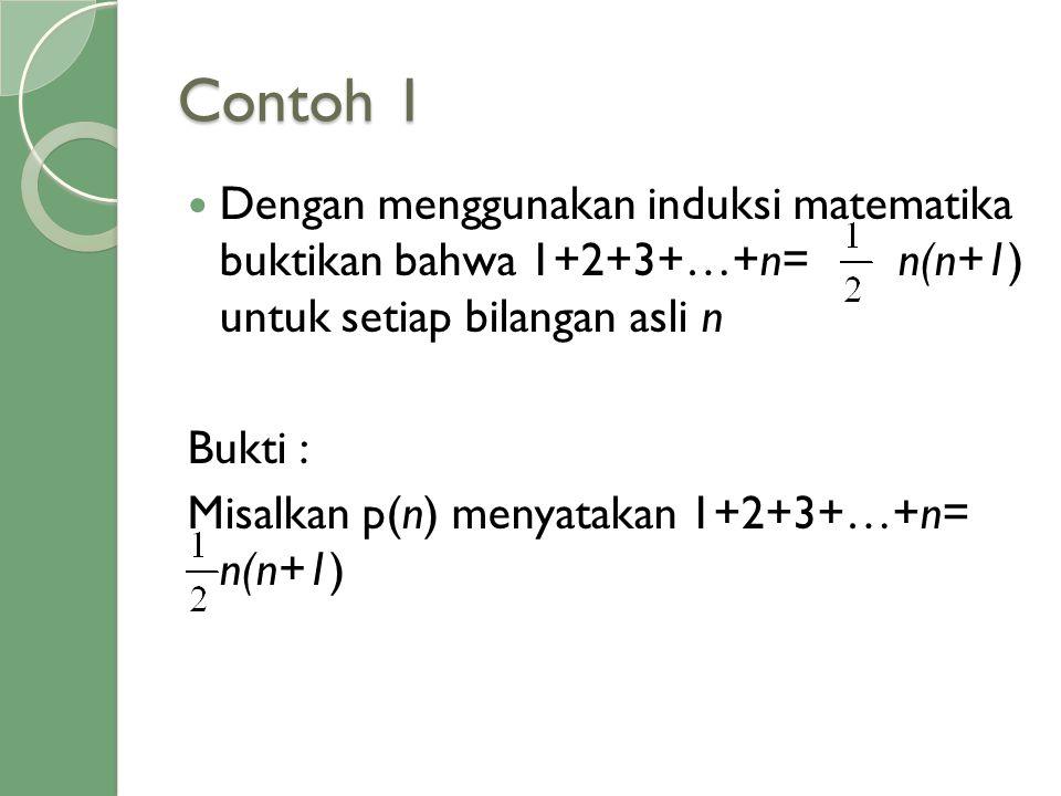 Contoh 1  Dengan menggunakan induksi matematika buktikan bahwa 1+2+3+…+n= n(n+1) untuk setiap bilangan asli n Bukti : Misalkan p(n) menyatakan 1+2+3+