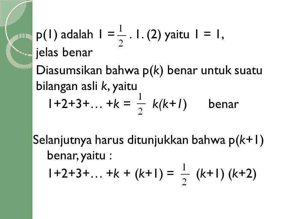 (i) p(1) adalah 1 =. 1. (2) yaitu 1 = 1, (ii) jelas benar (iii) Diasumsikan bahwa p(k) benar untuk suatu bilangan asli k, yaitu 1+2+3+… +k = k(k+1) be