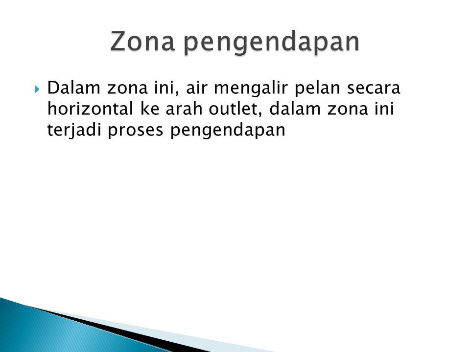  Dalam zona ini, air mengalir pelan secara horizontal ke arah outlet, dalam zona ini terjadi proses pengendapan