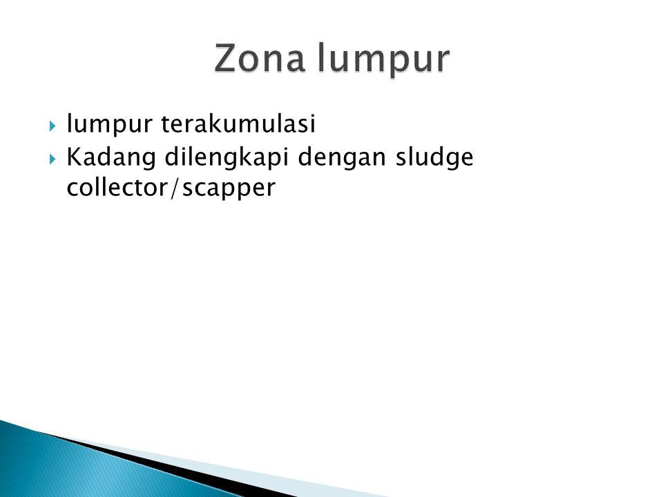  lumpur terakumulasi  Kadang dilengkapi dengan sludge collector/scapper