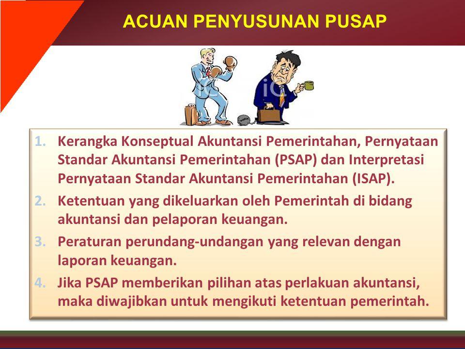 ACUAN PENYUSUNAN PUSAP 1.Kerangka Konseptual Akuntansi Pemerintahan, Pernyataan Standar Akuntansi Pemerintahan (PSAP) dan Interpretasi Pernyataan Stan
