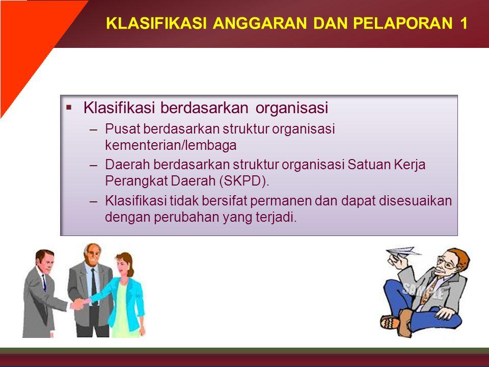 KLASIFIKASI ANGGARAN DAN PELAPORAN 1  Klasifikasi berdasarkan organisasi –Pusat berdasarkan struktur organisasi kementerian/lembaga –Daerah berdasark