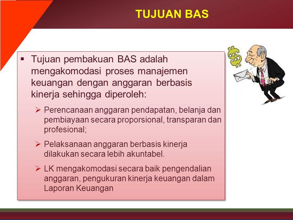 TUJUAN BAS  Tujuan pembakuan BAS adalah mengakomodasi proses manajemen keuangan dengan anggaran berbasis kinerja sehingga diperoleh:  Perencanaan an