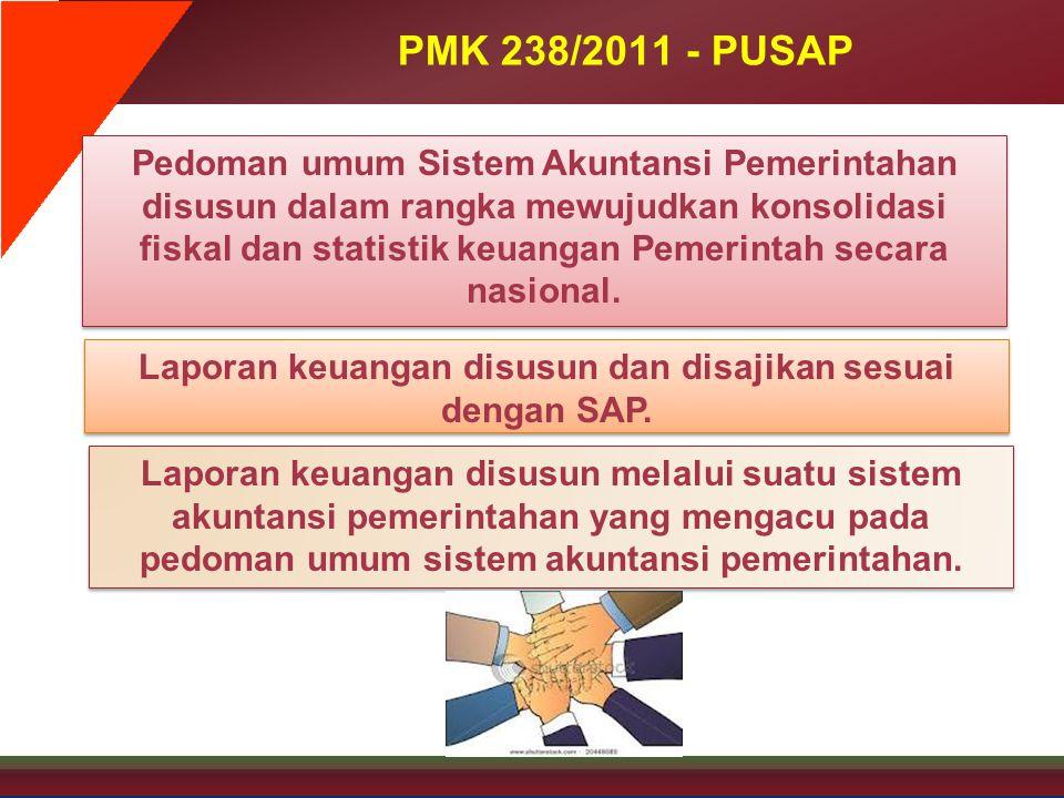 PMK 238/2011 - PUSAP Pedoman umum Sistem Akuntansi Pemerintahan disusun dalam rangka mewujudkan konsolidasi fiskal dan statistik keuangan Pemerintah s