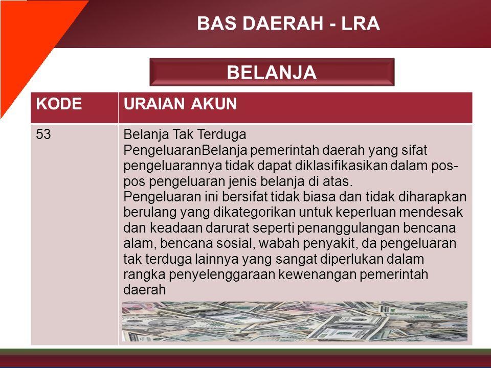 BAS DAERAH - LRA KODEURAIAN AKUN 53Belanja Tak Terduga PengeluaranBelanja pemerintah daerah yang sifat pengeluarannya tidak dapat diklasifikasikan dal