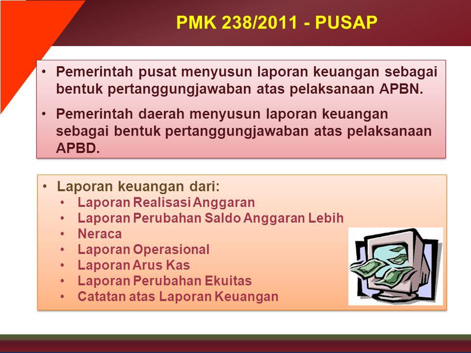 PMK 238/2011 - PUSAP •Pemerintah pusat menyusun laporan keuangan sebagai bentuk pertanggungjawaban atas pelaksanaan APBN. •Pemerintah daerah menyusun