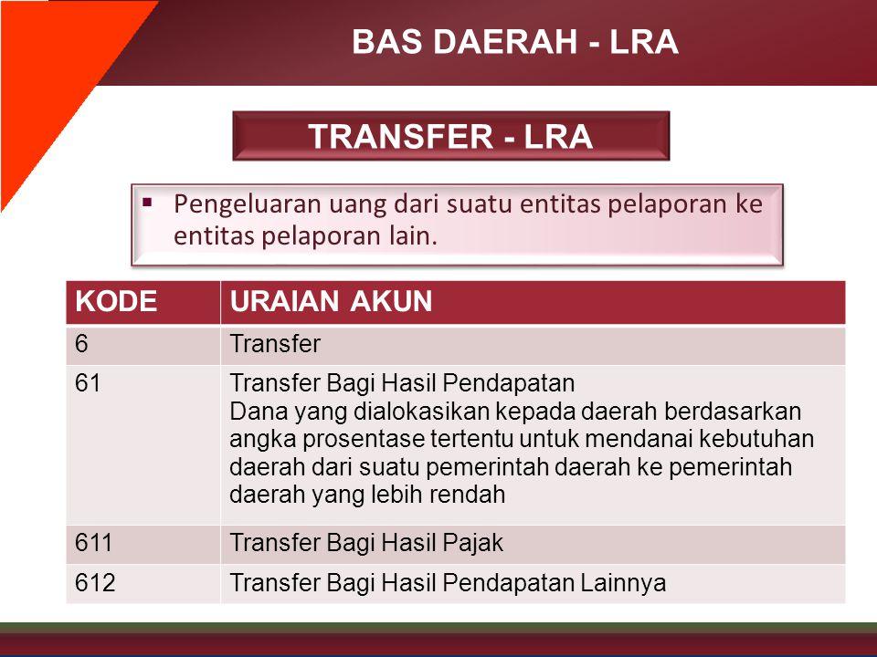 BAS DAERAH - LRA TRANSFER - LRA  Pengeluaran uang dari suatu entitas pelaporan ke entitas pelaporan lain. KODEURAIAN AKUN 6Transfer 61Transfer Bagi H