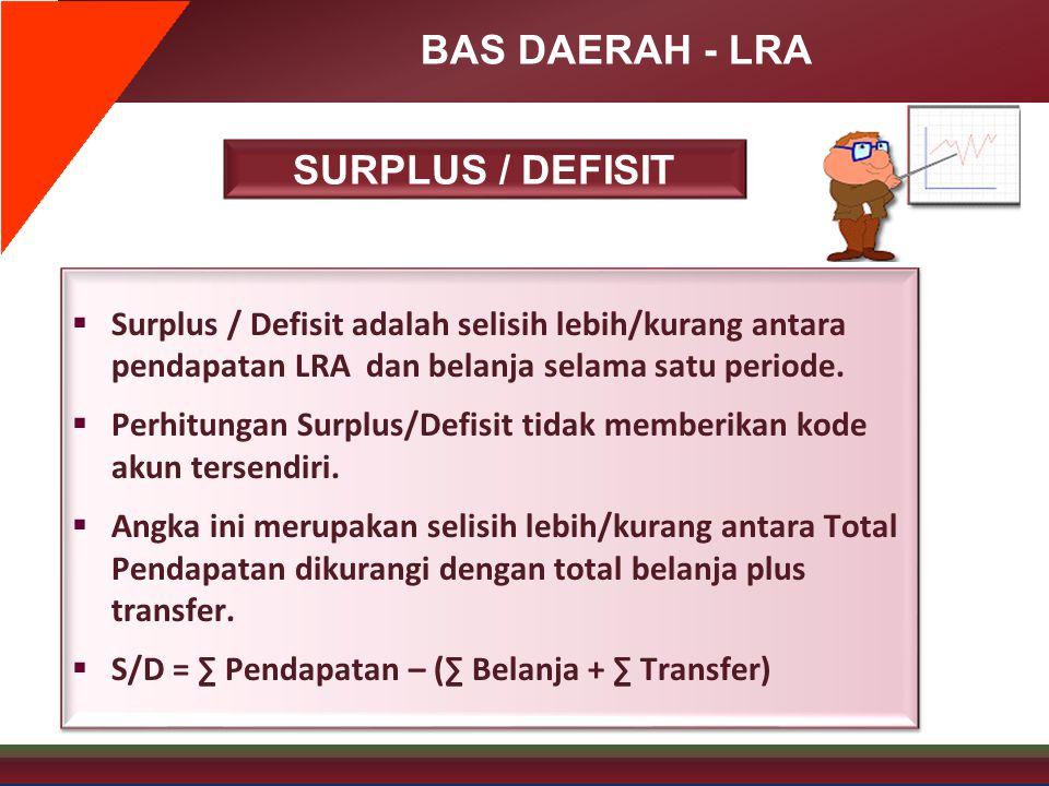 BAS DAERAH - LRA SURPLUS / DEFISIT  Surplus / Defisit adalah selisih lebih/kurang antara pendapatan LRA dan belanja selama satu periode.  Perhitunga