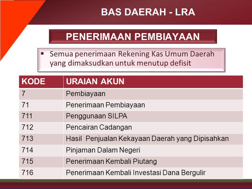 BAS DAERAH - LRA PENERIMAAN PEMBIAYAAN  Semua penerimaan Rekening Kas Umum Daerah yang dimaksudkan untuk menutup defisit KODEURAIAN AKUN 7Pembiayaan