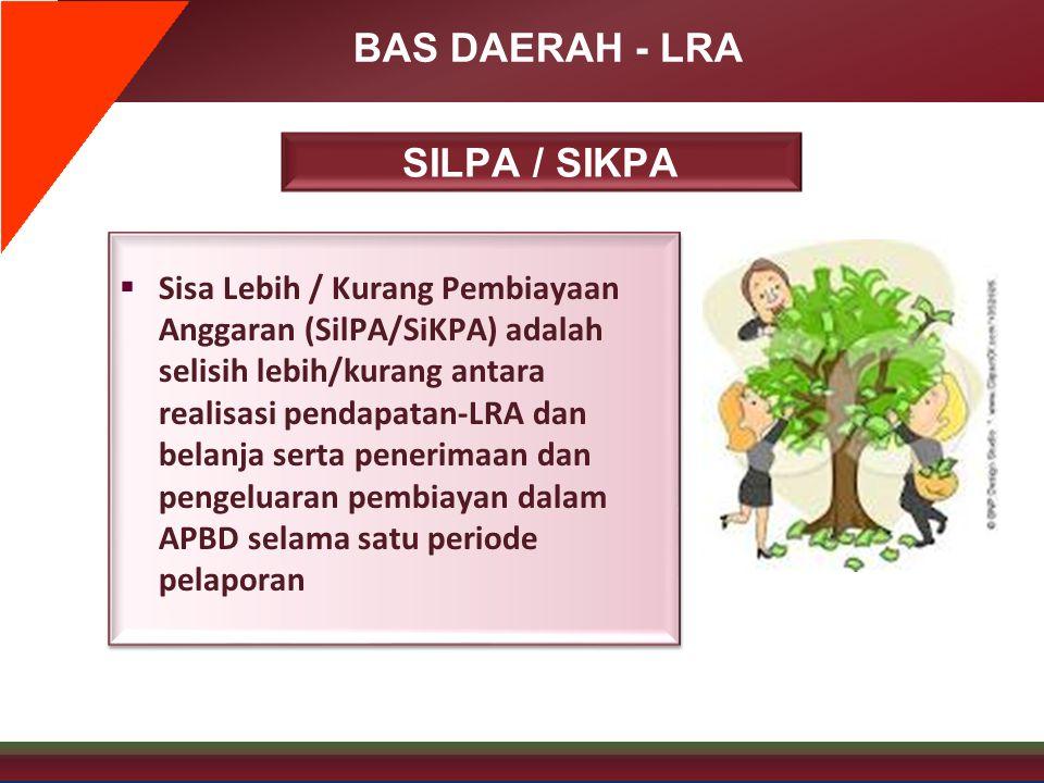 BAS DAERAH - LRA SILPA / SIKPA  Sisa Lebih / Kurang Pembiayaan Anggaran (SilPA/SiKPA) adalah selisih lebih/kurang antara realisasi pendapatan-LRA dan