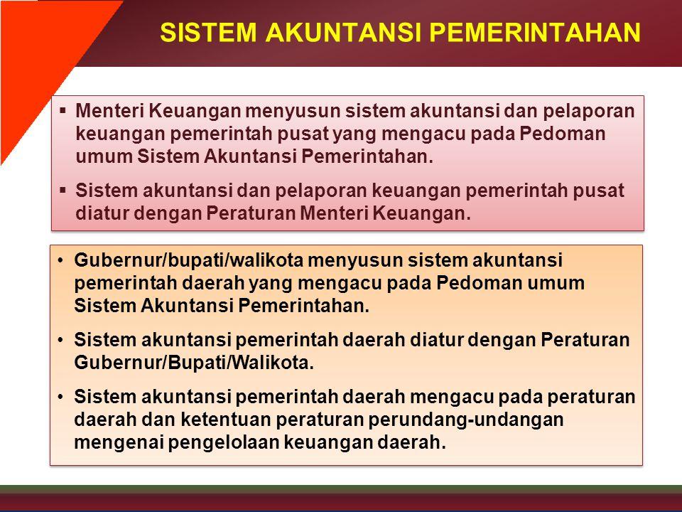 SISTEM AKUNTANSI PEMERINTAHAN  Menteri Keuangan menyusun sistem akuntansi dan pelaporan keuangan pemerintah pusat yang mengacu pada Pedoman umum Sist
