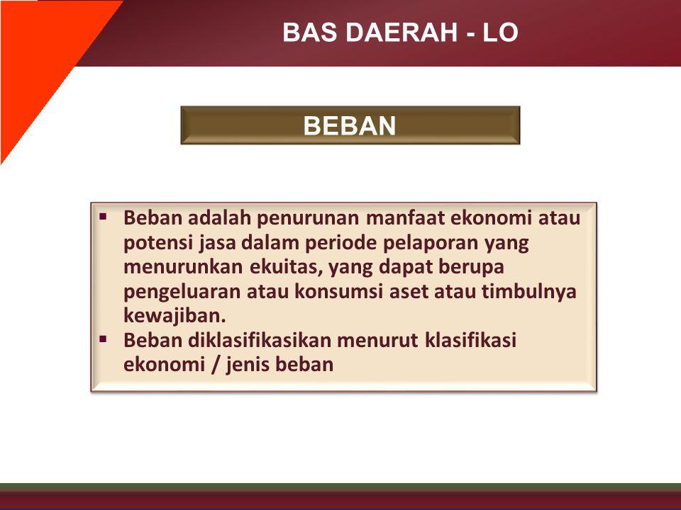 BAS DAERAH - LO BEBAN  Beban adalah penurunan manfaat ekonomi atau potensi jasa dalam periode pelaporan yang menurunkan ekuitas, yang dapat berupa pe