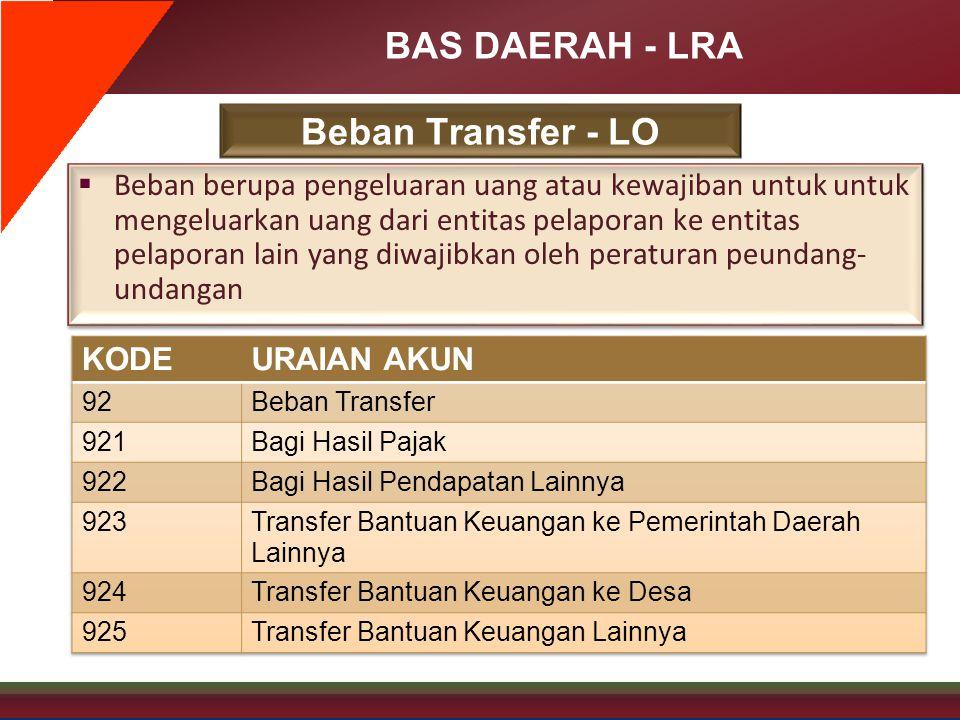 BAS DAERAH - LRA Beban Transfer - LO  Beban berupa pengeluaran uang atau kewajiban untuk untuk mengeluarkan uang dari entitas pelaporan ke entitas pe
