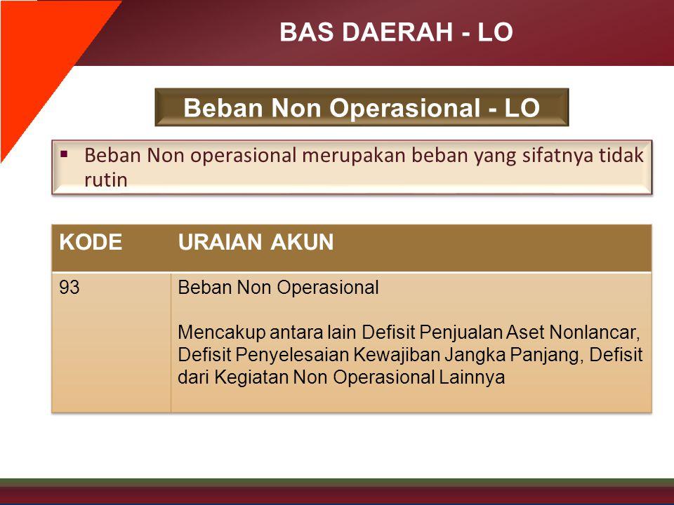 BAS DAERAH - LO Beban Non Operasional - LO  Beban Non operasional merupakan beban yang sifatnya tidak rutin