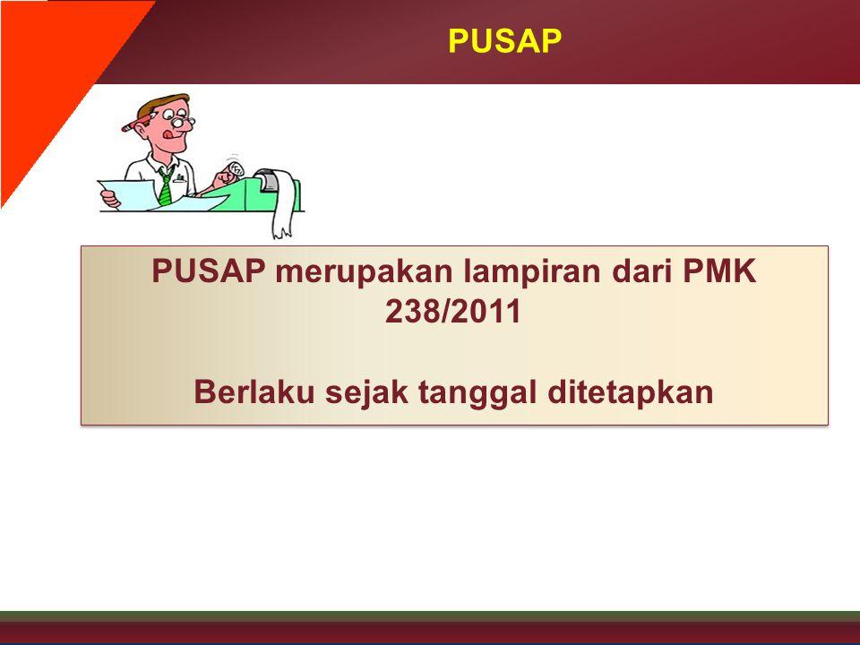 PUSAP PUSAP merupakan lampiran dari PMK 238/2011 Berlaku sejak tanggal ditetapkan PUSAP merupakan lampiran dari PMK 238/2011 Berlaku sejak tanggal dit