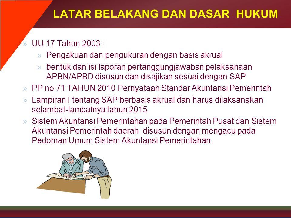 LATAR BELAKANG DAN DASAR HUKUM »UU 17 Tahun 2003 : »Pengakuan dan pengukuran dengan basis akrual »bentuk dan isi laporan pertanggungjawaban pelaksanaa