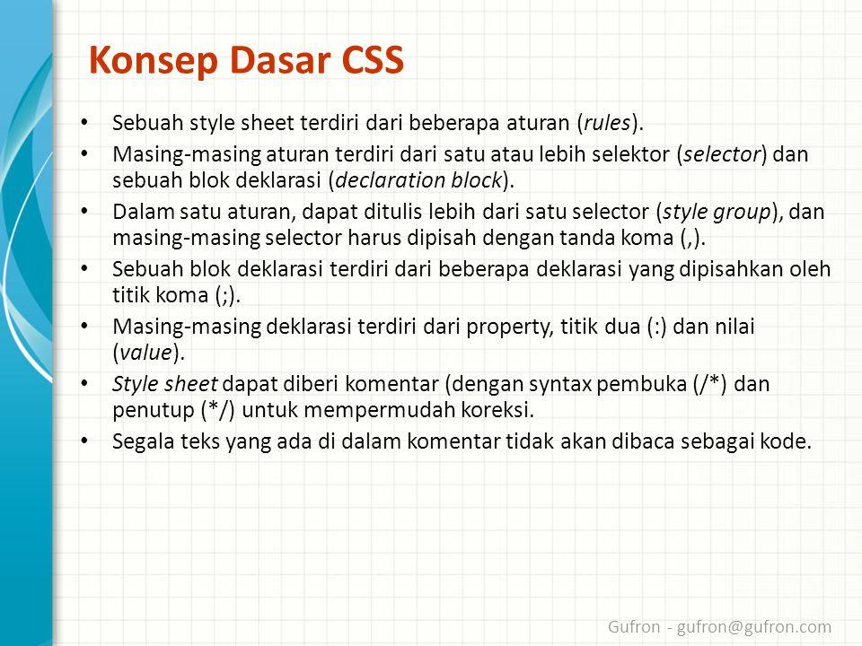 Gufron - gufron@gufron.com Konsep Dasar CSS • Sebuah style sheet terdiri dari beberapa aturan (rules).