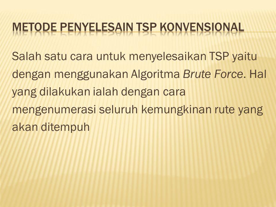 Salah satu cara untuk menyelesaikan TSP yaitu dengan menggunakan Algoritma Brute Force. Hal yang dilakukan ialah dengan cara mengenumerasi seluruh kem