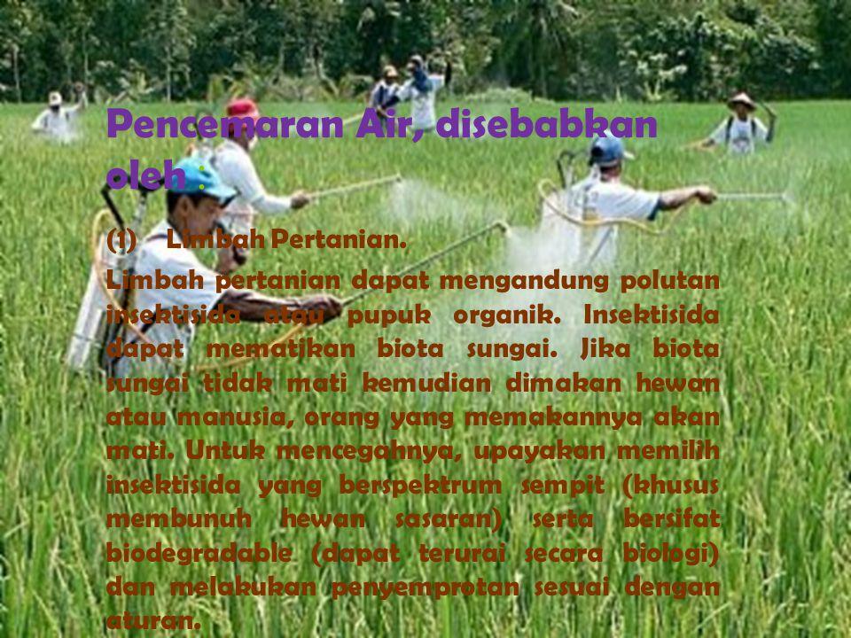 Pencemaran Air, disebabkan oleh : (1) Limbah Pertanian. Limbah pertanian dapat mengandung polutan insektisida atau pupuk organik. Insektisida dapat me