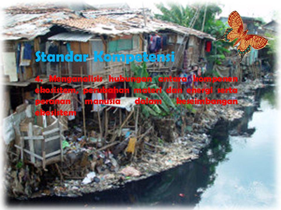 Standar Kompetensi 4. Menganalisis hubungan antara komponen ekosistem, perubahan materi dan energi serta peranan manusia dalam keseimbangan ekosistem