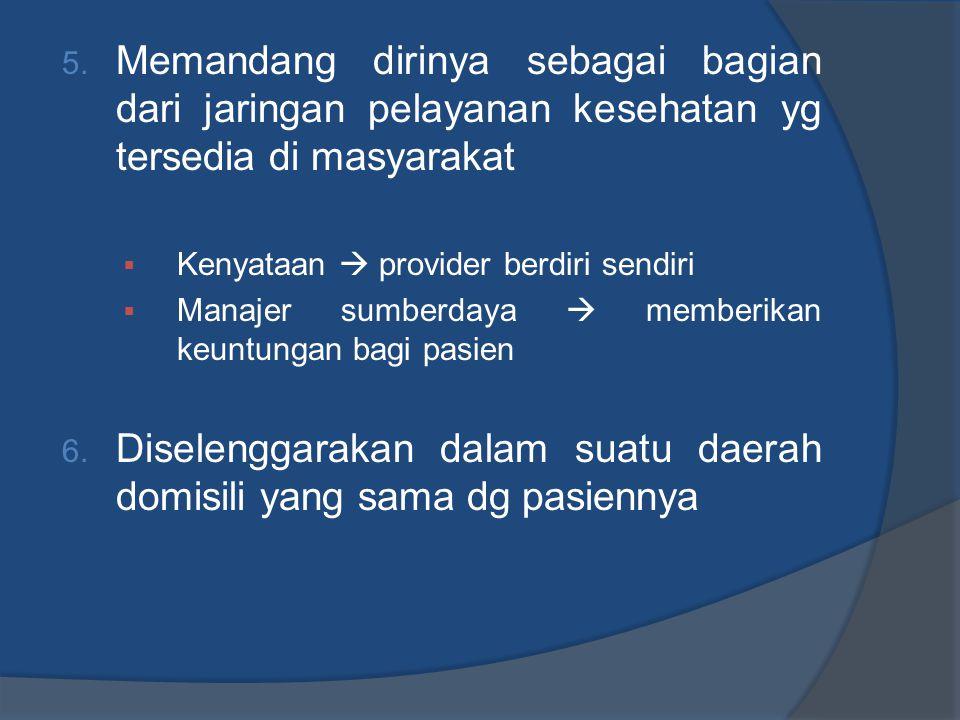 5. Memandang dirinya sebagai bagian dari jaringan pelayanan kesehatan yg tersedia di masyarakat  Kenyataan  provider berdiri sendiri  Manajer sumbe