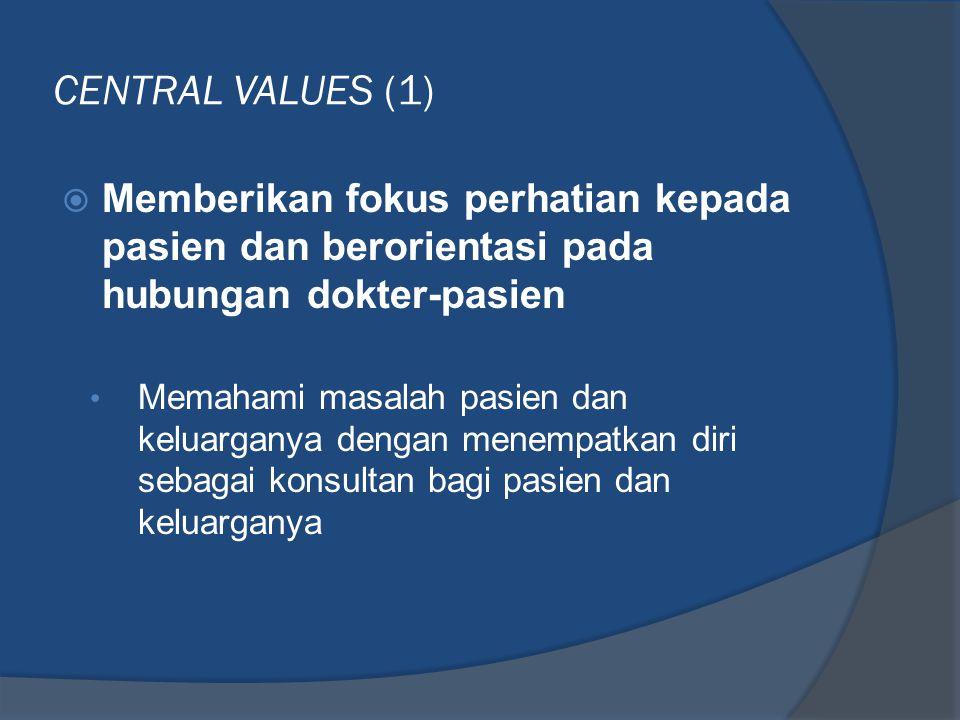 CENTRAL VALUES (1)  Memberikan fokus perhatian kepada pasien dan berorientasi pada hubungan dokter-pasien • Memahami masalah pasien dan keluarganya d