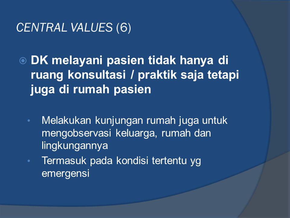 CENTRAL VALUES (6)  DK melayani pasien tidak hanya di ruang konsultasi / praktik saja tetapi juga di rumah pasien • Melakukan kunjungan rumah juga un