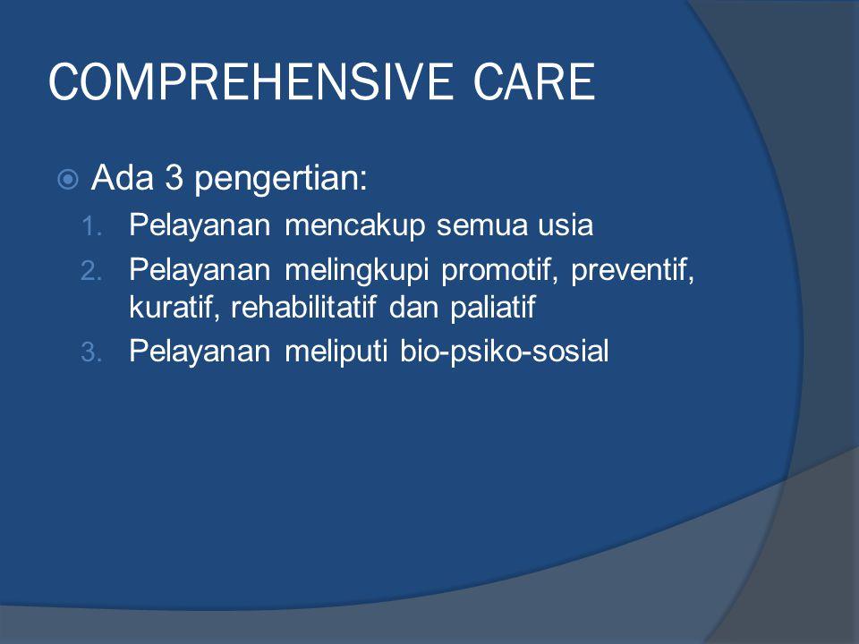 COMPREHENSIVE CARE  Ada 3 pengertian: 1. Pelayanan mencakup semua usia 2. Pelayanan melingkupi promotif, preventif, kuratif, rehabilitatif dan paliat