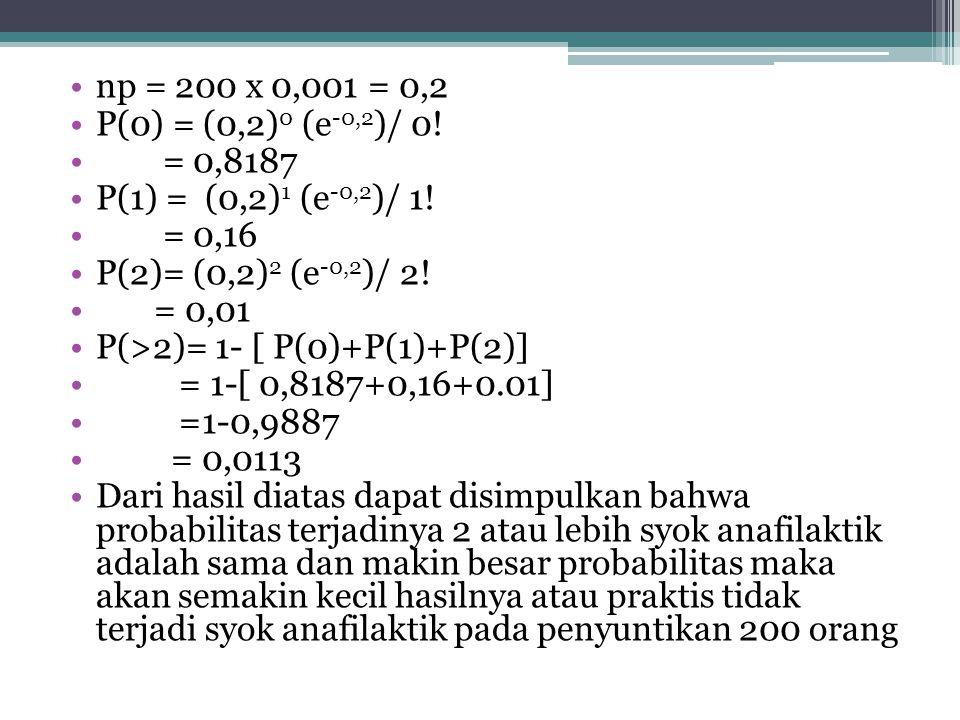 Pendekatan distribusi binomial ke distribusi poison •Rumus: • P(X) = (np) x e - np x! Contoh: dari berbagai laporan diketahui bahwa terjadinya syok an