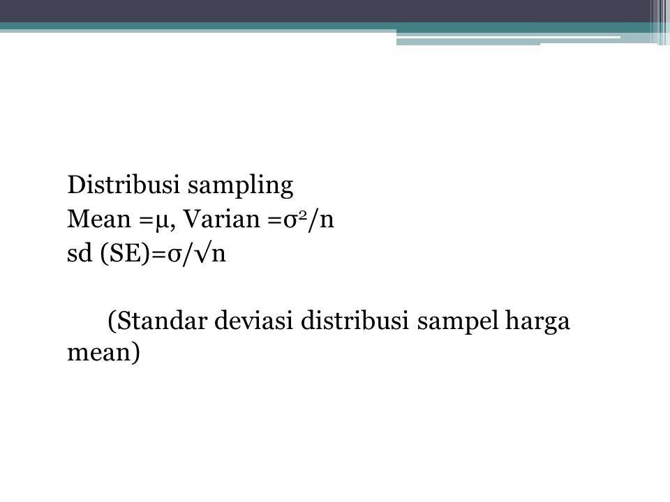Sifat distribusi Sampling •Central limit theorem (teorema nilai tengah) sifat 1 Sampel random n elemen diambil dari populasi normal, mempunyai Mean=µ,