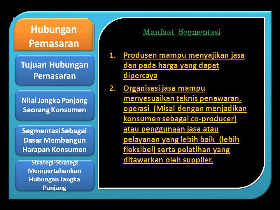 Manfaat Segmentasi 1.Produsen mampu menyajikan jasa dan pada harga yang dapat dipercaya 2.Organisasi jasa mampu menyesuaikan teknis penawaran, operasi