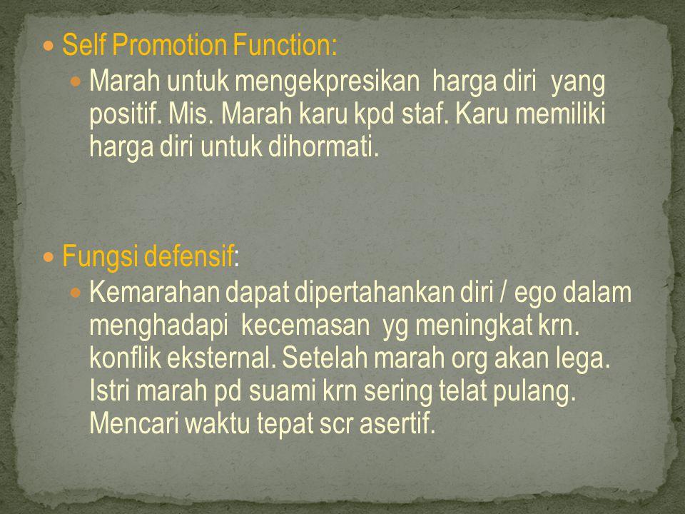  Self Promotion Function:  Marah untuk mengekpresikan harga diri yang positif.