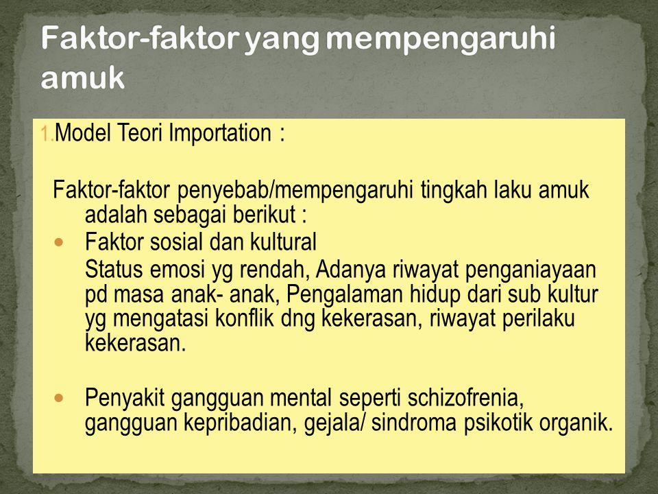 1. Model Teori Importation : Faktor-faktor penyebab/mempengaruhi tingkah laku amuk adalah sebagai berikut :  Faktor sosial dan kultural Status emosi